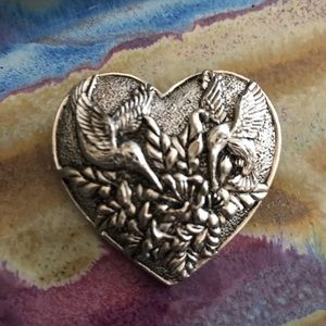 Hummingbirds Heart Brooch Pendant
